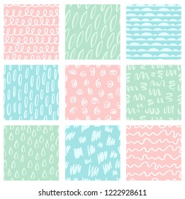 Set of cute abstract seamless pastel colored patterns. Hand drawn doodle elements. Scandinavian design style. Vector illustration for kids textile, baby stuff, backgrounds etc