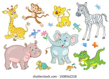Set of cute african animal babies - giraffe, zebra, crocodile, lion, elephant, hippo, monkey, turtle and frog. In cartoon style. Isolated on a white background. Vector illustration.