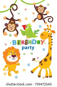 Set of cute african animals for happy birthday design. Lion, elephant, monkey, parrot, giraffe.