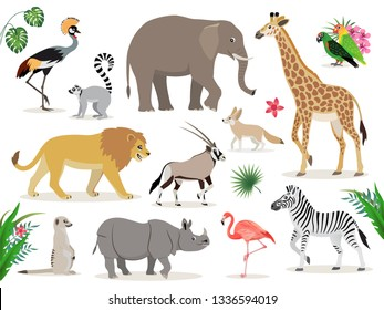 Set of cute African animals icons isolated on white background, crowned crane, lemur, elephant, giraffe, lion, antelope, zebra, suricate, rhinoceros, flamingo lovebirds fennec vector illustration