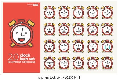 Set of Cute Alarm Clock Emoji Line Icons In Different Expressions