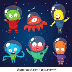 Set of cute aliens. Vector illustration in cartoon style.