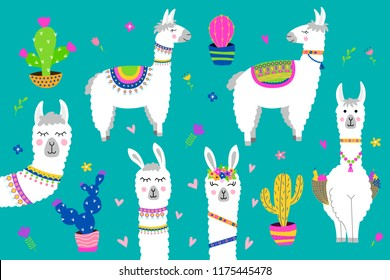 Set of cute alpaca. Collection design elements with llama, cactus, flowers. Vector illustration.