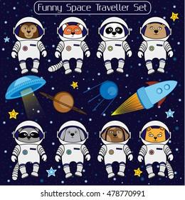 Set of cute animal astronauts, rocket, satellite, UFO, stars in cosmos, cartoon style vector illustration. Cartoon animal cosmonauts, cat dog raccoon fox bear panda monkey rabbit in space suite