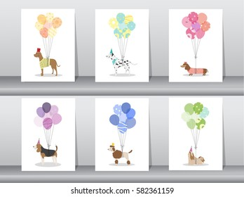 Set of cute animal with balloon,Vector illustrations