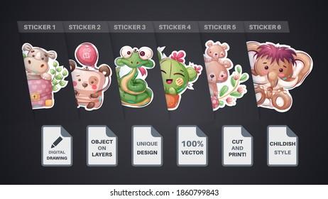 Set cute animal cartoon sticker. Vector eps 10