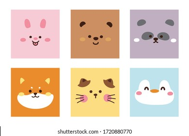 Set of cute animal face hand drawn.Cartoon doodle collection.Rabbit,bear,panda,shiba inu dog,cat,penguin.Kawaii.Colorful.Image for card,poster,baby cloth,sticker.Vector.Illustration.