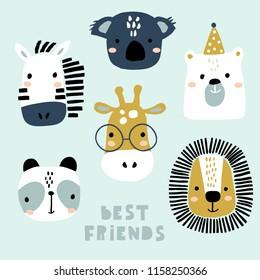 Un conjunto de caras lindas de animales. Creativa huella animal cebra, koala, oso, jirafa, panda, para viveros, ropa, tarjetas. Ilustración vectorial
