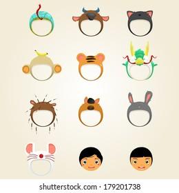 set of cute animal hat