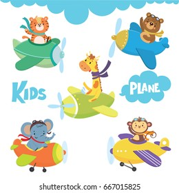 Set of cute animal on plane in sky.Funny pilots. Vector illustration
