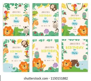 Set of cute animal theme birthday party invitation card vector.