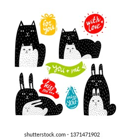 Set of cute animals with babies in black and white. Colorful banners with affirmations and messages of love. Vector cartoon collection.