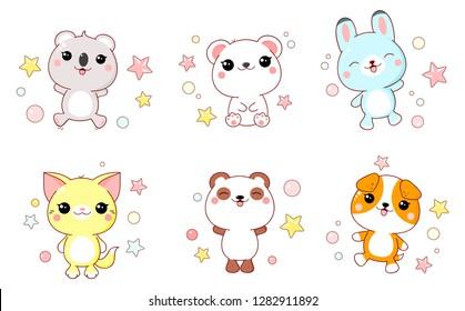 Set of cute animals  baby - polar bear, panda, dog, bunny, cat, koala in kawaii style. EPS8