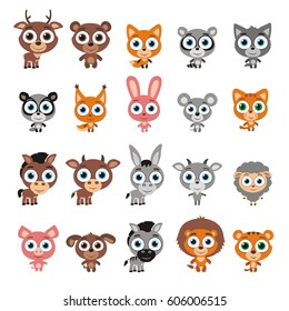 Set of cute animals with big eyes in cartoon style isolated on white background.