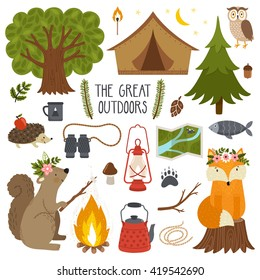 Set of cute animals and camping equipment.