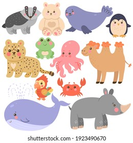 Set of cute animals in cartoon style isolated on white background. Vector graphics.