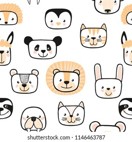 Set of cute animals. Character. Vector.