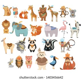 Set of cute animals indians. Collection of animals and birds with headdresses with feathers. Cartoon residents of the forest. Vector illustration for kids.