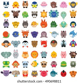 Set of cute animals isolated on white. Vector illustration