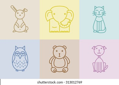 Set of cute animals in linear style good for print