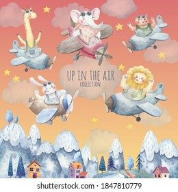 set of cute animals on airplanes flying over the city, mountains, trees, children cute  illustration