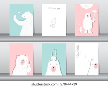 Set of cute animals poster,Design for valentine's day ,template,cards,bear,Vector illustrations