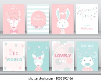 Set of cute animals poster,greeting cards, podters,template,cards,reindeers,rabbits,baby shower,birthday,Vector illustrations