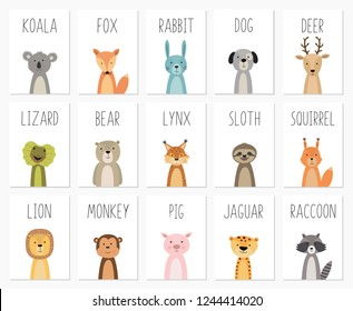 Set of cute animals poster,template,cards,bear ,rabbit, koala, fox, deer, pig, lizard, lynx, squirrel, raccoon, lion, monkey, dog, sloth, jaguar