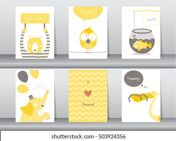 Set of cute animals poster,template,cards,elephant,bird,fish,bear,zoo,Vector illustrations