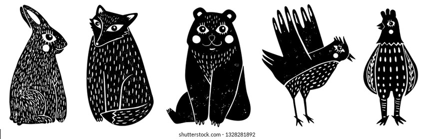 Set of cute animals (third part).The illustrations remind us vintage children books but at the same time illustrations look modern.Hand Drawn. Ideal for web, card, poster, cover, invitation, etc