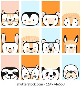 Set of cute animals. Vector.