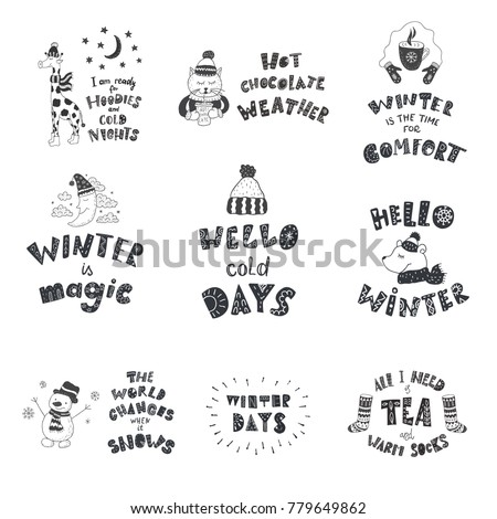 Set Cute Animals Winter Quotes Nursery Stock Vector (Royalty Free