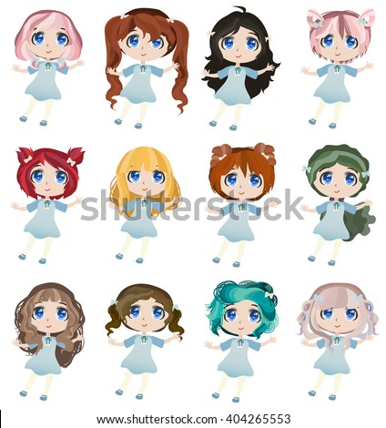 Set Of Cute Anime Chibi Girls With Different Haircuts