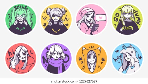 A set of cute anime girls illustrations in various clothes doing different activities with different expressions. Vector stickers or badges