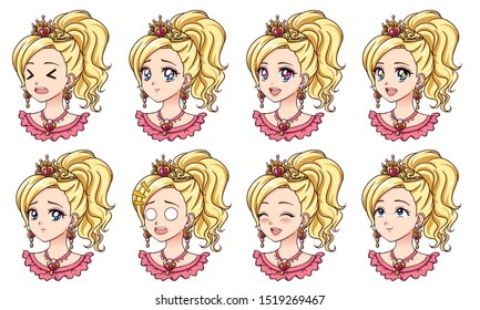 A set of cute anime princess with different expressions. Blonde hair, big blue eyes, golden crown. Hand drawn retro anime vector illustration. Can be used for avatar, stickers, badges, prints etc.