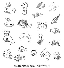 set of cute aquatic animals drawing vector, black line doodle of free hand drawing
