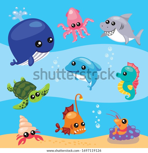 Set of cute aquatic sealife