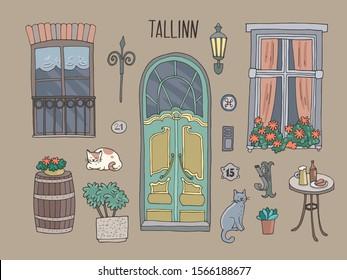 Set of cute architectural details of old Estonian city Tallinn. Hand-drawn vector illustration.