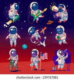 Set of cute astronauts in space, working and having fun. Isolated images.