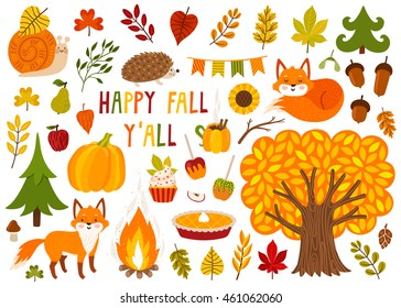 Set of cute autumn cartoon characters, plants and food. Fall season. Collection of scrapbook elements for party, harvest festival or Thanksgiving day.