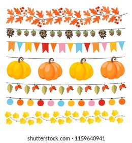 Set of cute autumn, fall garlands with lights, flags, acorns, leaves, pumpkins, pine cones and rose hips. Collection of thanksgiving garden party decorations. Isolated vector objects.