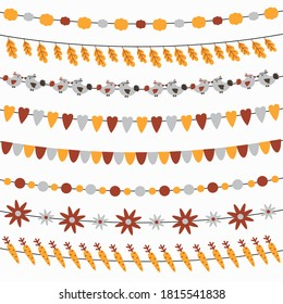Set of cute autumn garlands with flags, leaves, pumpkins, turkey, flowers. Collection of thanksgiving party decorations. Thanksgiving bunting and decoration set.