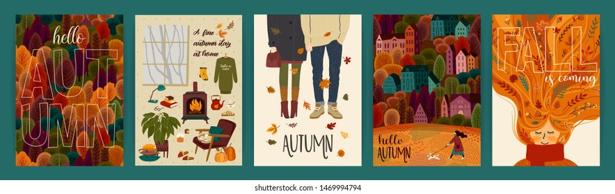 Set of cute autumn illustrations. Vector templates for card, poster, flyer, cover and other use. Trendy retro style