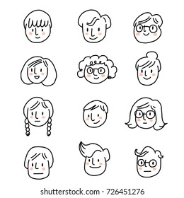 Set of cute avatar icons for using as face icons or profile pictures in social network sites. Doodled face icons on white background. Vector illustration with hand-drawn style.