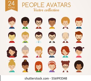 Set of cute avatars. Male and Female faces. Diverse type of people with different nationalities, ages, clothing and hair styles. Vector icons isolated on white background.