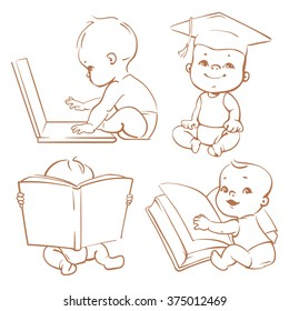 Set with cute babies in diapers. Genius little boy reading book. Toddler in graduate cap. Baby with computer. Concept of  development of abilities of child .Monochrome vector. Sketchy style.
