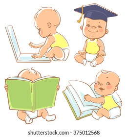 Set with cute babies in diapers. Genius little boy reading book. Toddler in graduate cap. Baby with computer. Concept of  development of abilities of child and investment in the future of baby.
