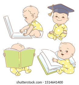 Set with cute babies in pajamas. Genius little boy reading book. Toddler in graduate cap. Baby with computer. Concept of  development of abilities of child and investment in the future of baby.