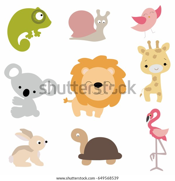 Set Cute Baby Animals Cartoon Style Stock Vector Royalty