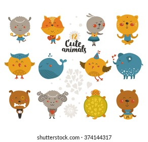 Set of cute baby animals in love. Vector fox, rabbit, cat, merinos, bird, elephant, whale, turtle, bear, dog, owl and sheep isolated on white background.